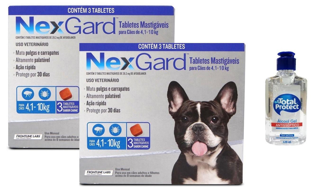 Kit 2 Unidades Antipulgas e Carrapatos Nexgard 28,3mg para Cães de 4,1 a 10kg (3 tabletes) - Boehringer Ingelheim + Brinde Álcool Gel 120ml Total Protect