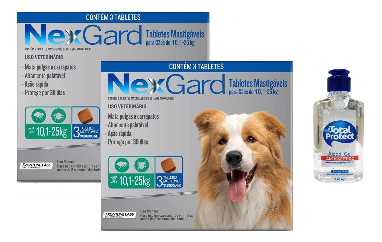Kit 2 Unidades Antipulgas e Carrapatos Nexgard 68mg para Cães entre 10,1 e 25kg (3 tabletes) - Merial + Brinde Álcool Gel 120ml Total Protect