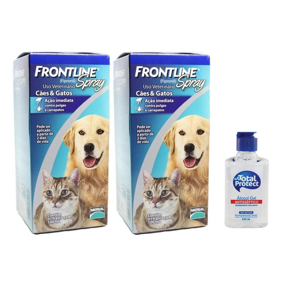 Kit 2 Unidades Antipulgas e Carrapatos para Cães e Gatos Frontline Spray 100ml - Merial + Brinde Álcool Gel 120ml Total Protect