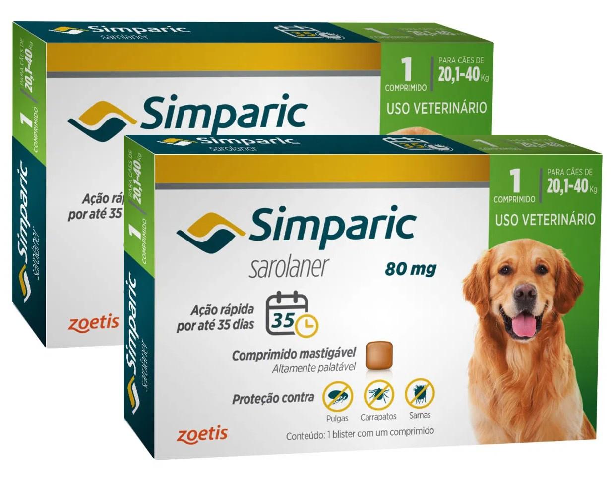 Kit 2 Unidades Antipulgas e Carrapatos para Cães Simparic de 20,1 a 40kg (3 tabletes) - Zoetis