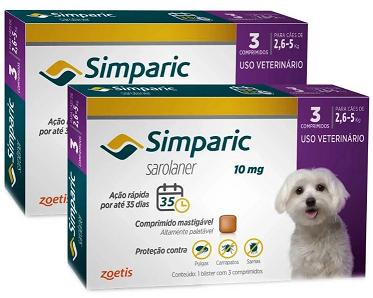 Kit 2 Unidades Antipulgas e Carrapatos para Cães Simparic de 2,6 a 5kg (3 tabletes) - Zoetis