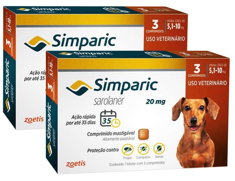Kit 2 Unidades Antipulgas e Carrapatos para Cães Simparic de 5,1 a 10kg (3 tabletes) - Zoetis