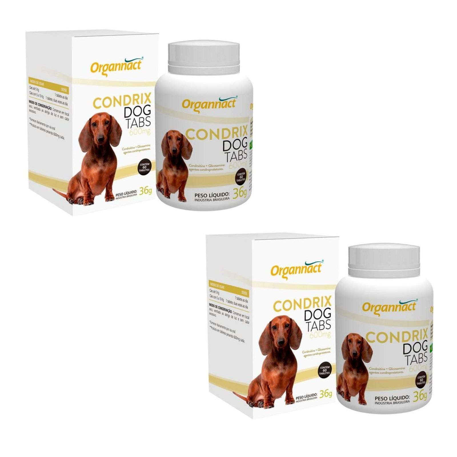 Kit 2 Unidades Condrix Dog Tabs 600mg (36g) - Organnact