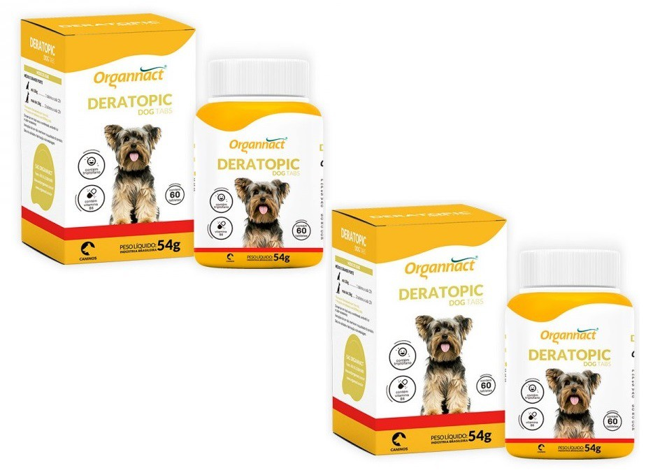Kit 2 Unidades Deratopic Dog Tabs 54g (60 Tabletes) - Organnact