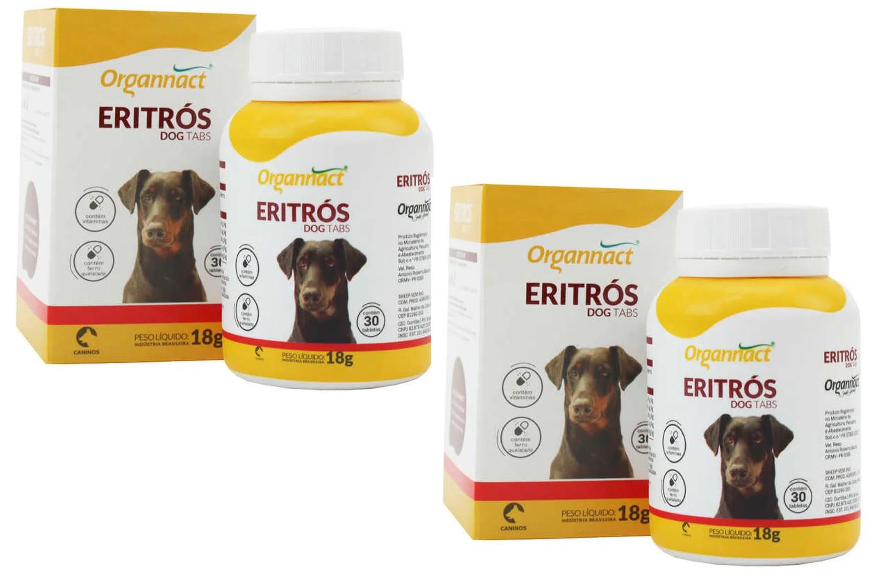 Kit 2 Unidades Eritros Dog Tabs 18g (30 Tabletes) - Organnact