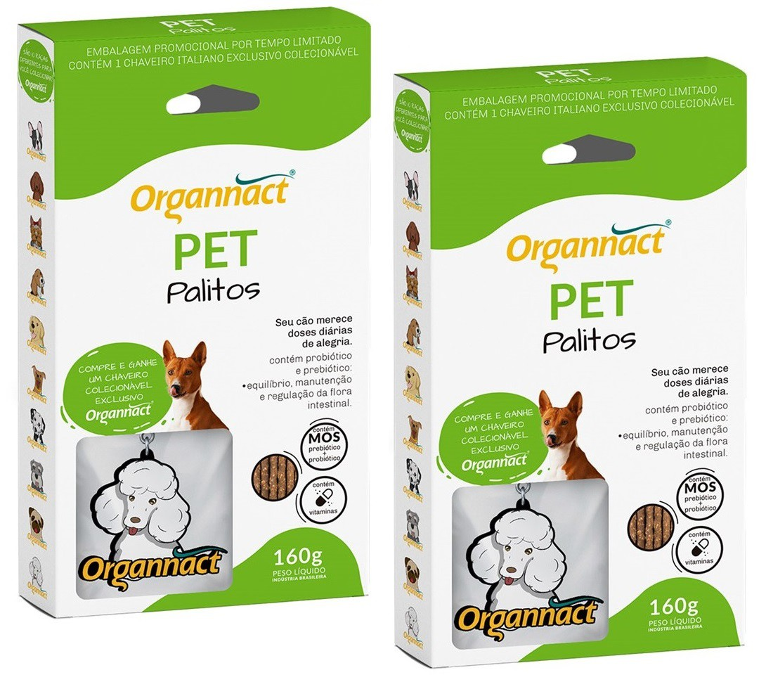 Kit 2 Unidades Pet Palitos 160g - Organnact