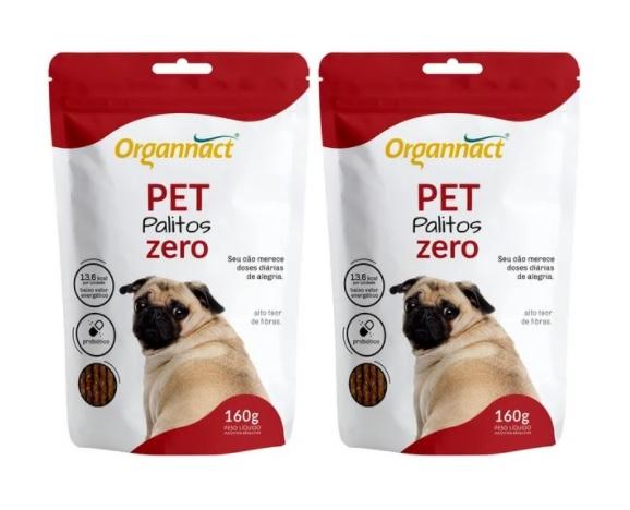 Kit 2 Unidades Pet Palitos Zero 160g - Organnact