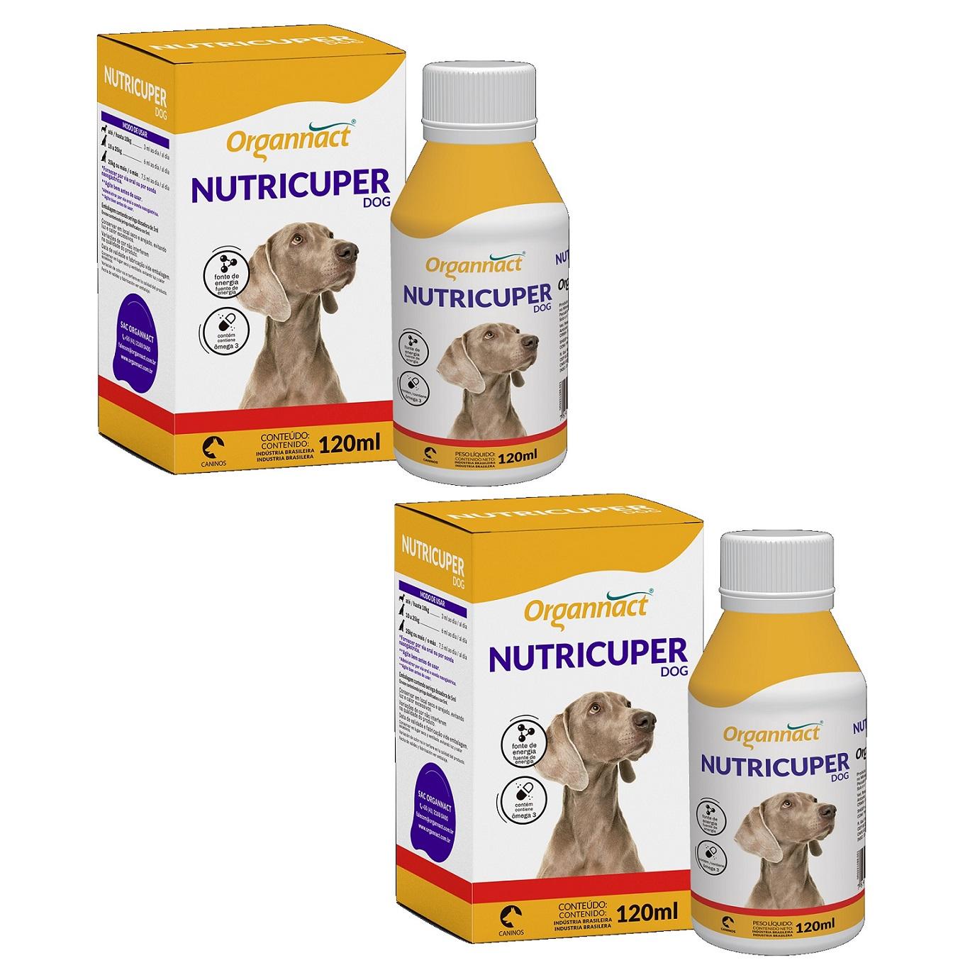 Kit 2 Unidades Suplemento Hipercalórico para Cães Nutricuper Dog 120ml - Organnact