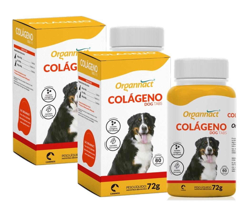 Kit 2 Unidades Suplemento para Cães Colágeno Dog Tabs 72g (60 tabletes) - Organnact