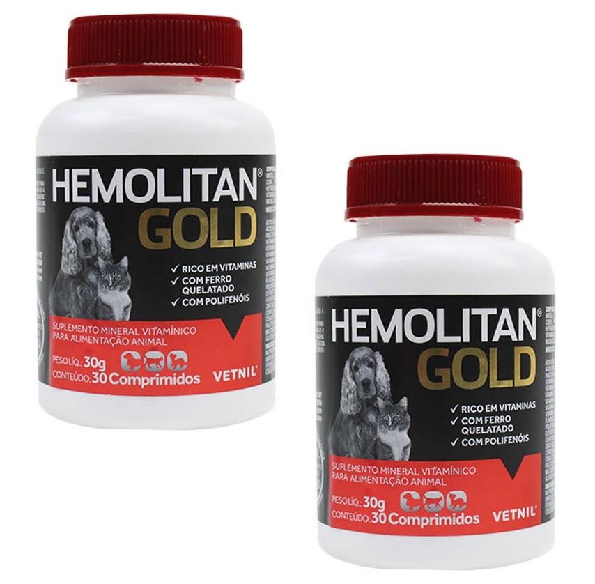 Kit 2 Unidades Suplemento Vitamínico Hemolitan Gold 30g (30 Comp.) - Vetnil