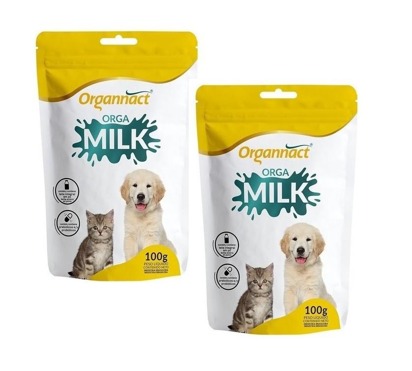 Kit 2 Unidades Suplemento Vitamínico para Cães e Gatos Filhotes Orga Milk 100g - Organnact