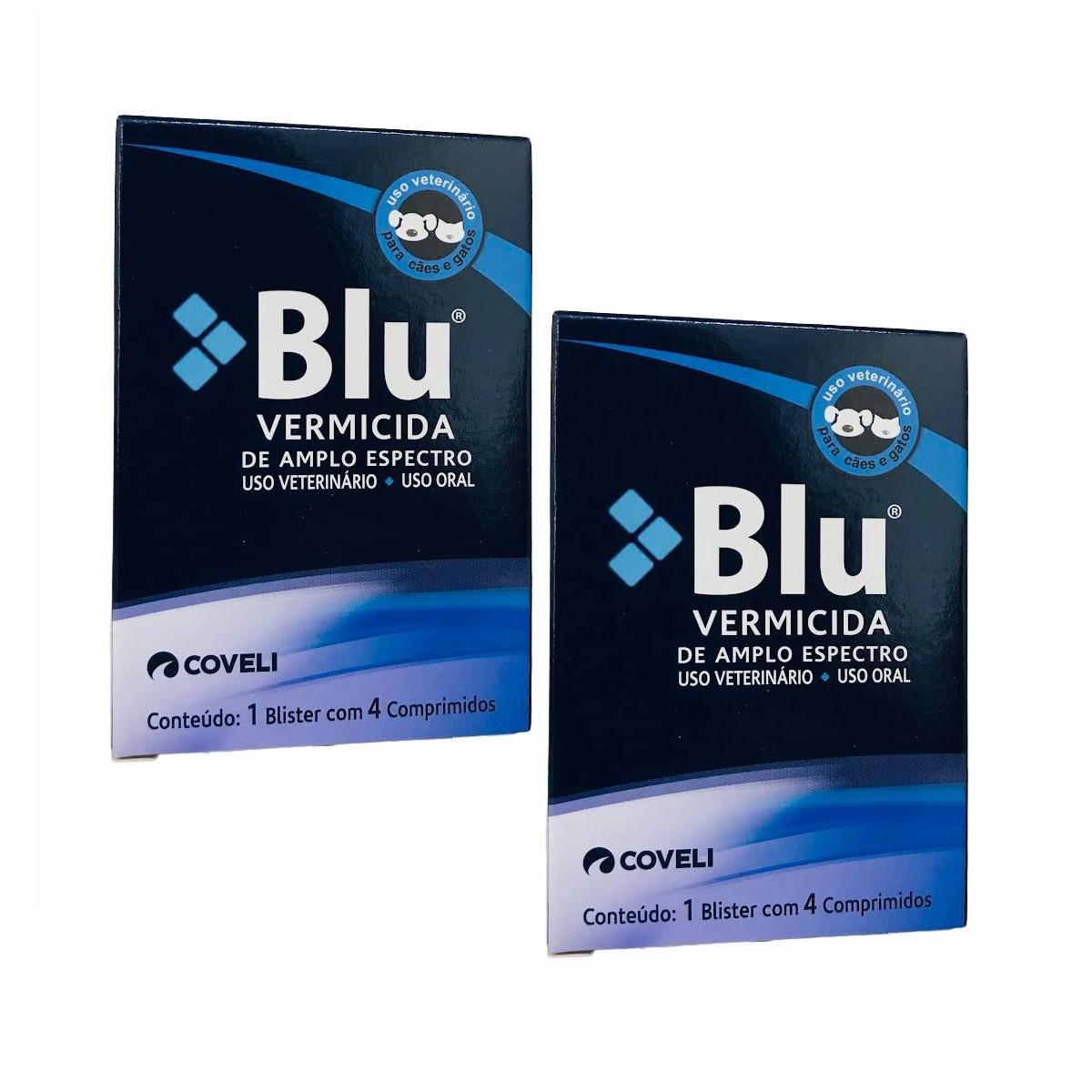 Kit 2 Unidades Vermífugo para Cães e Gatos Blu (4 Comprimidos) - Coveli