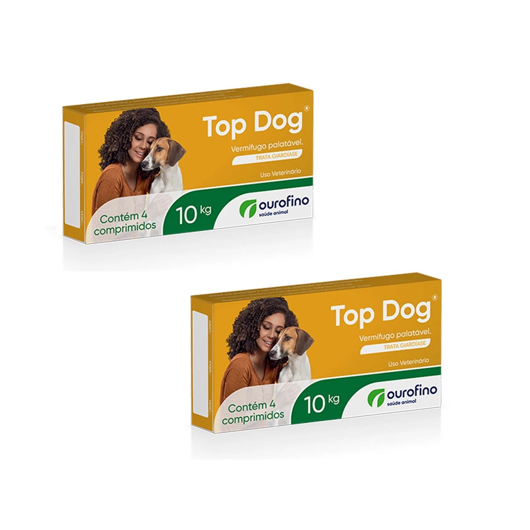 Kit 2 Unidades Vermífugo para Cães Top Dog 10kg (4 comprimidos) - Ourofino