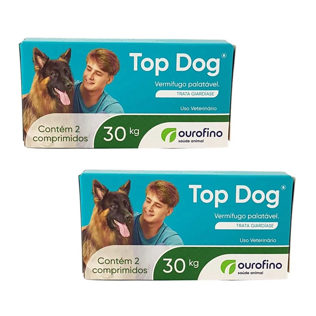 Kit 2 Unidades Vermifugo para Cães Top Dog 30kg (2 comprimidos) - Ourofino