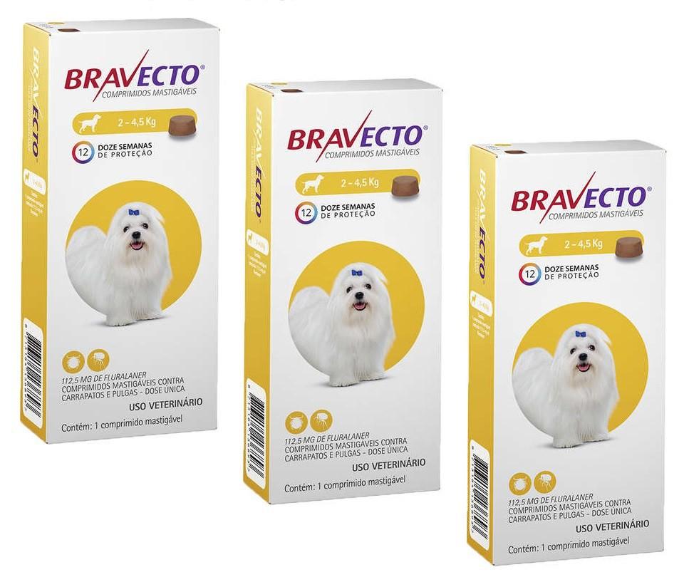 Kit 3 Unidades Antipulgas e Carrapatos Bravecto Para Caes De 2kg A 4,5kg (112,5mg) - MSD Saúde Animal