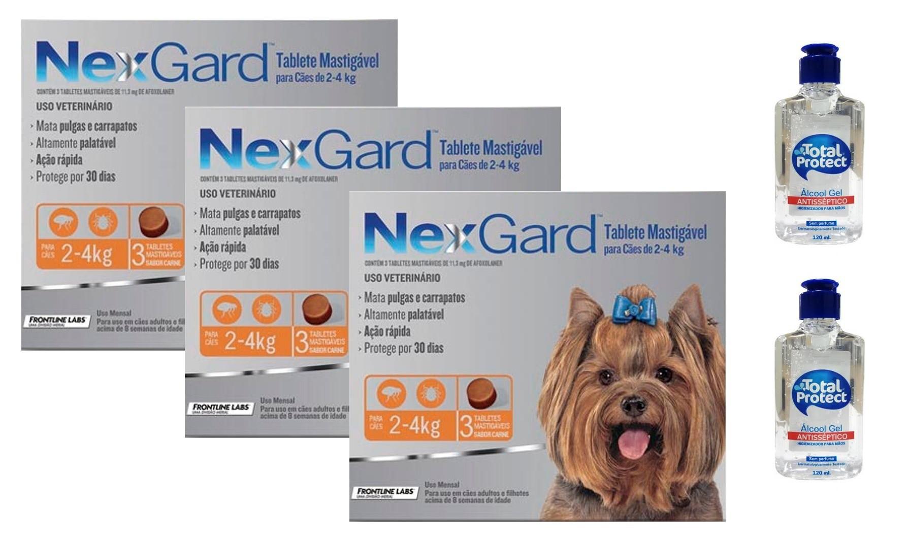 Kit 3 Unidades Antipulgas e Carrapatos Nexgard 11,3mg para Cães de 2 a 4kg (3 tabletes) - Boehringer Ingelheim + Brinde 2 Álcool Gel 120ml Total Protect