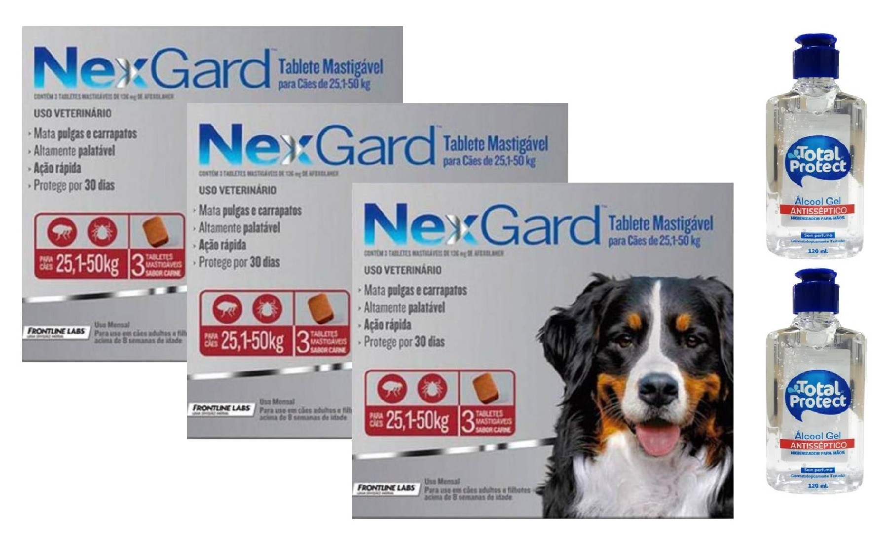 Kit 3 Unidades Antipulgas e Carrapatos Nexgard 136mg para Cães de 25,1 a 50kg (3 tabletes) - Merial + Brinde 2 Álcool Gel 120ml Total Protect