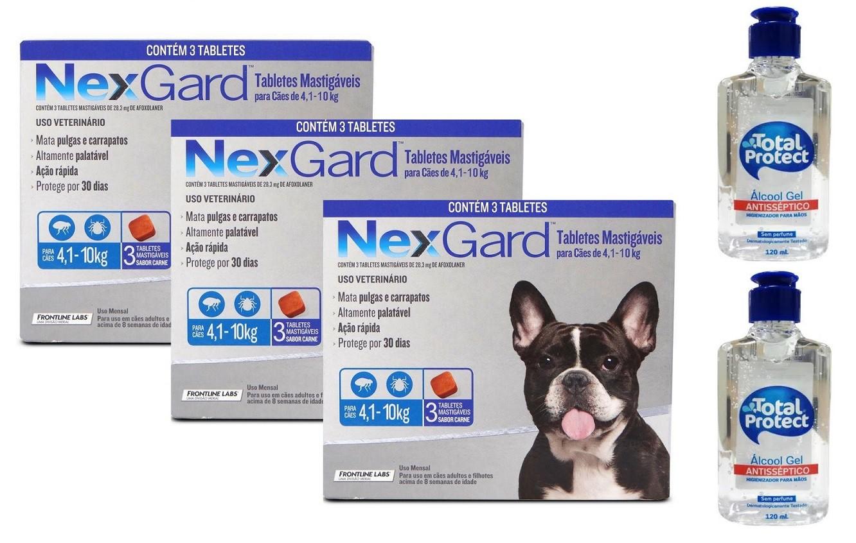 Kit 3 Unidades Antipulgas e Carrapatos Nexgard 28,3mg para Cães de 4,1 a 10kg (3 tabletes) - Boehringer Ingelheim + Brinde 2 Álcool Gel 120ml Total Protect