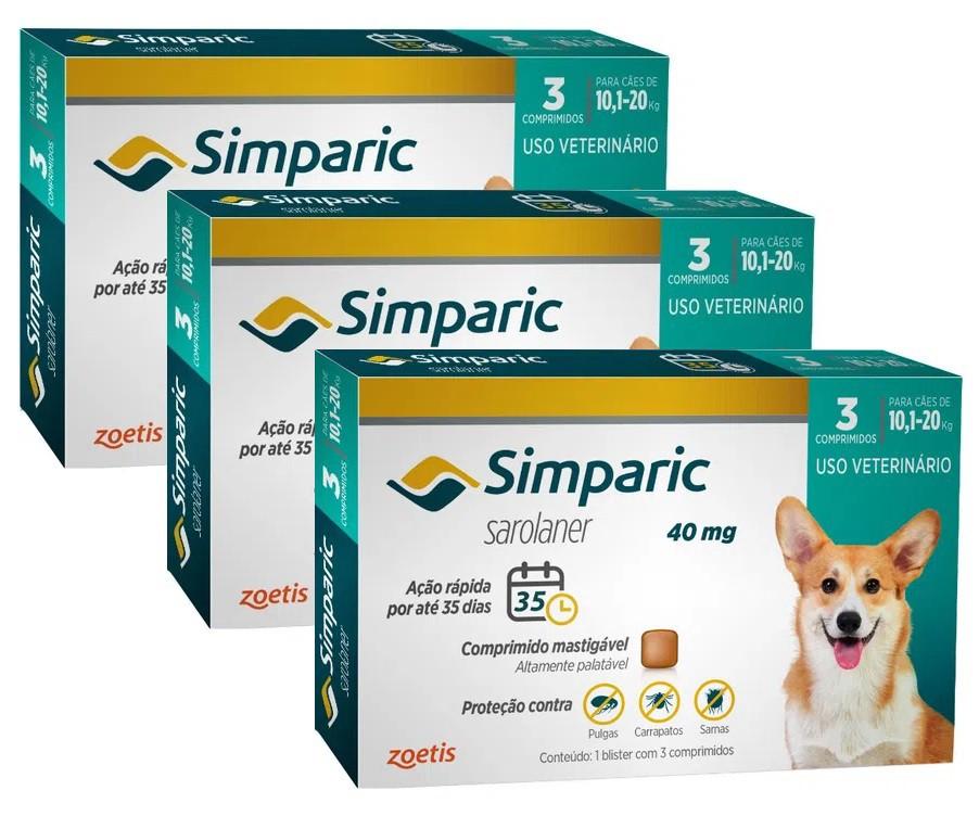 Kit 3 Unidades Antipulgas e Carrapatos para Cães Simparic de 10,1 a 20kg (3 tabletes) - Zoetis