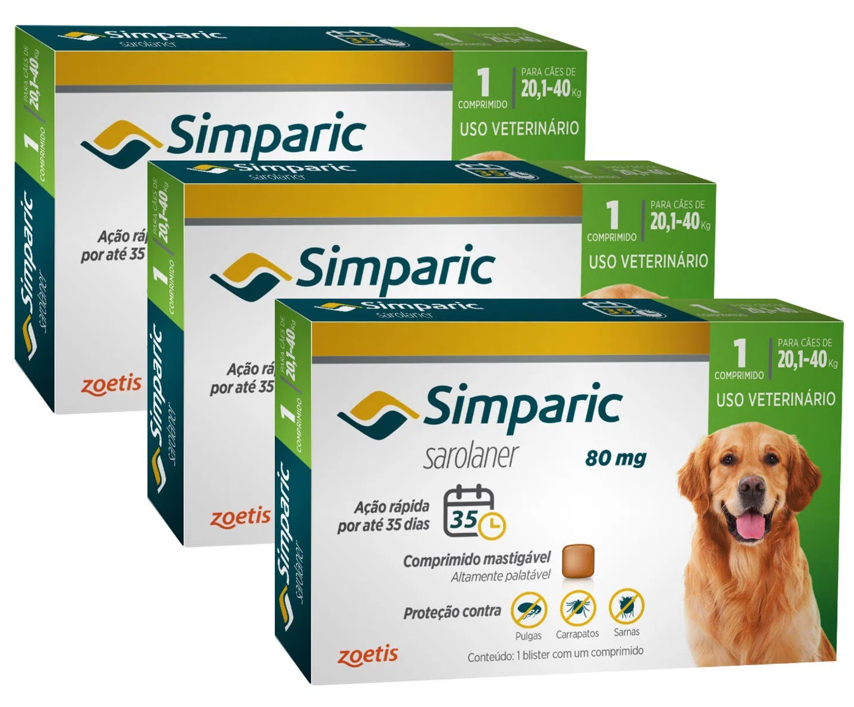 Kit 3 Unidades Antipulgas e Carrapatos para Cães Simparic de 20,1 a 40kg (3 tabletes) - Zoetis