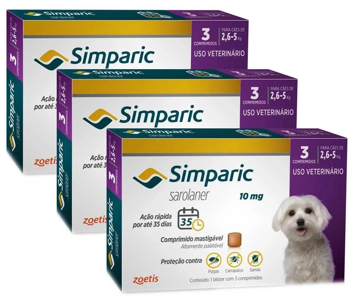 Kit 3 Unidades Antipulgas e Carrapatos para Cães Simparic de 2,6 a 5kg (3 tabletes) - Zoetis