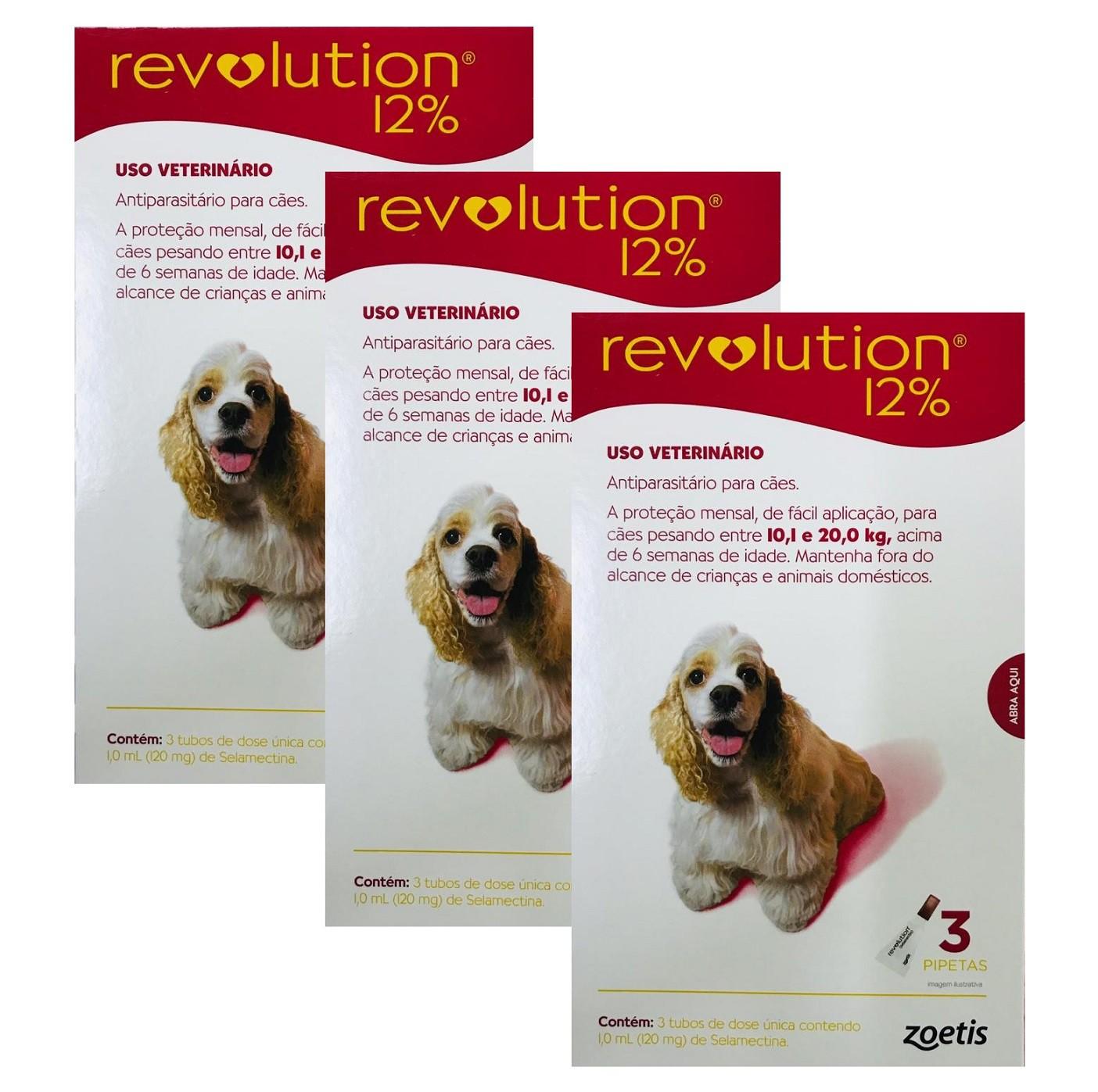 Kit 3 Unidades Antipulgas Revolution para Cães de 10,1kg a 20kg (3 Tubos) - Zoetis