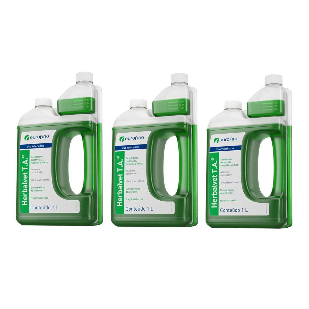 Kit 3 Unidades Desinfetante Herbalvet T.A. (1 litro) - Ourofino