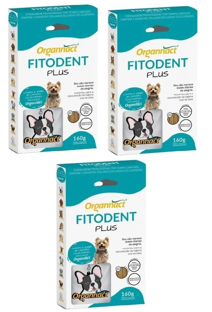 Kit 3 Unidades Palito Fitoterápico para Higiene Oral Fitodent Plus 160g - Organnact