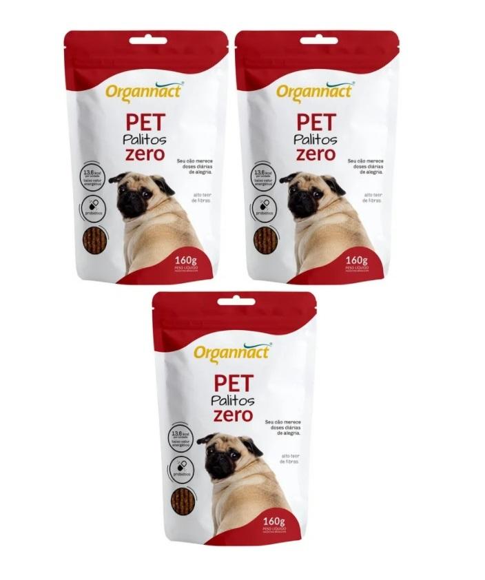 Kit 3 Unidades Pet Palitos Zero 160g - Organnact