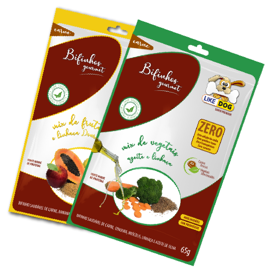Kit 3 unidades Petisco Bifinho Frutas/Legumes 65g -  Like Dog