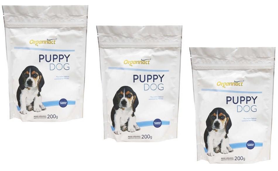 Kit 3 Unidades Suplemento Alimentar para Cães Filhotes Puppy Dog 200g - Organnact