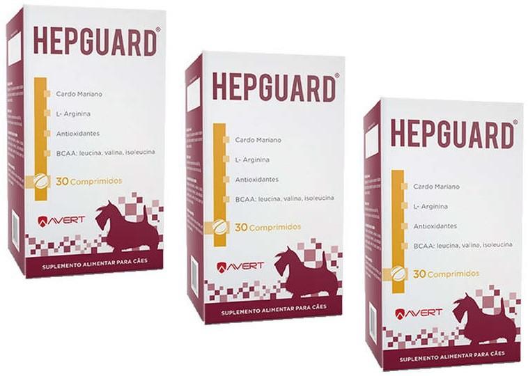 Kit 3 Unidades Suplemento Hepguard para Cães (30 comprimidos) - Avert