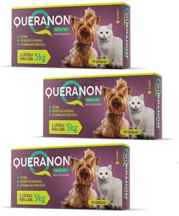 Kit 3 Unidades Suplemento para Cães e Gatos Pequenos Queranon 5kg (30 cápsulas) - Avert