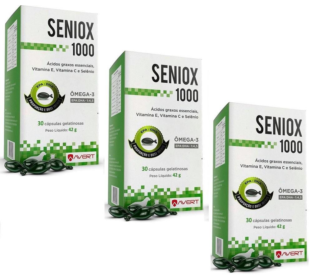 Kit 3 Unidades Suplemento para Cães e Gatos Seniox 1000 - Avert