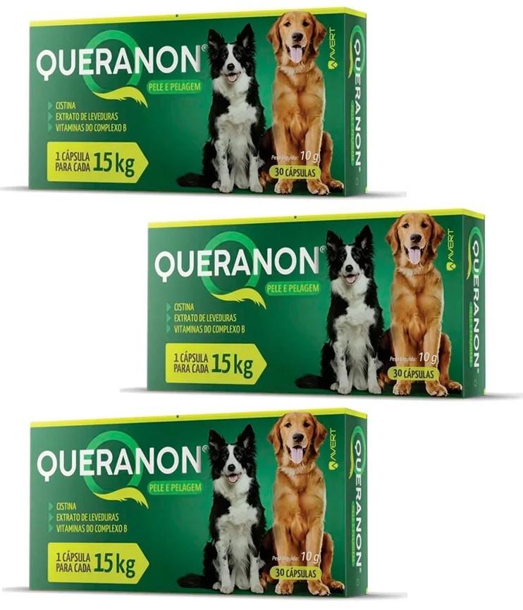 Kit 3 Unidades Suplemento para Cães Queranon 15kg (30 cápsulas) - Avert