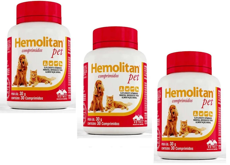 Kit 3 Unidades Suplemento Vitamínico Hemolitan Pet 30g (30 Comp.) - VETNIL