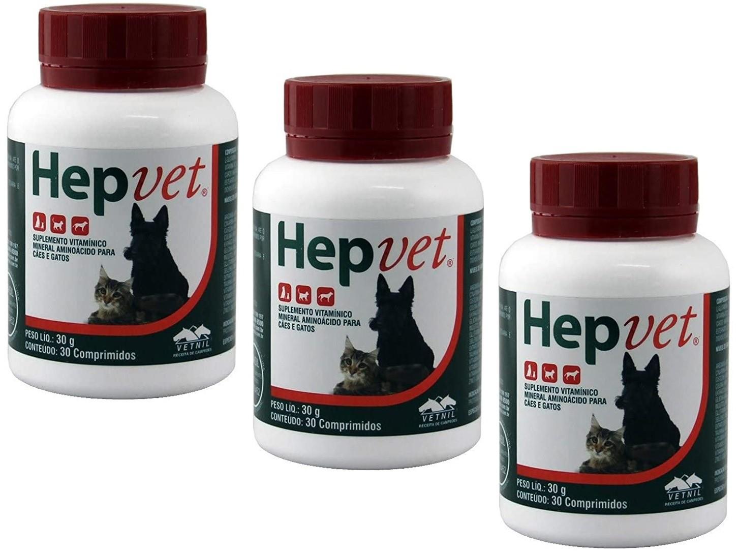 Kit 3 Unidades Suplemento Vitaminico Hepvet 30g (30 Comprimidos) - Vetnil