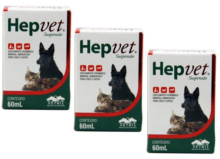 Kit 3 Unidades Suplemento Vitaminico Hepvet Suspensao 60ml - Vetnil