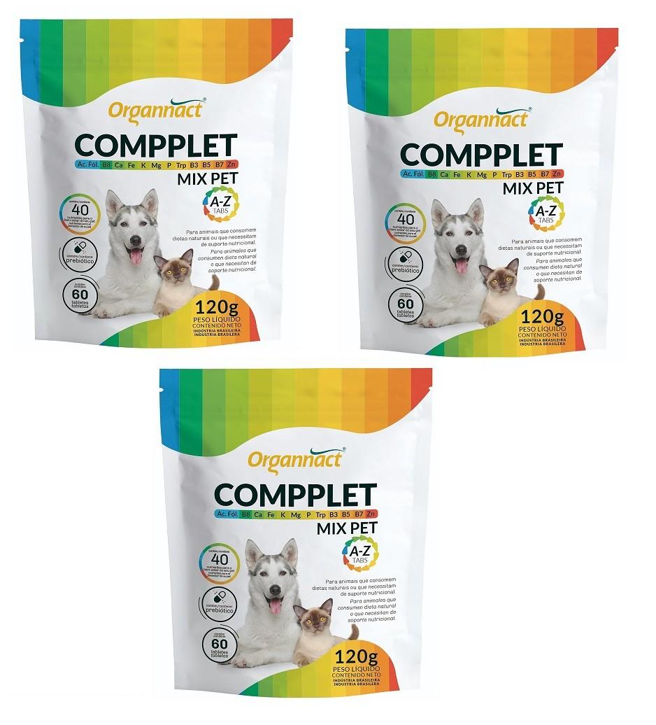 Kit 3 Unidades Suplemento Vitamínico para Cães e Gatos Compplet Mix A-Z Tabs 120g - Organnact