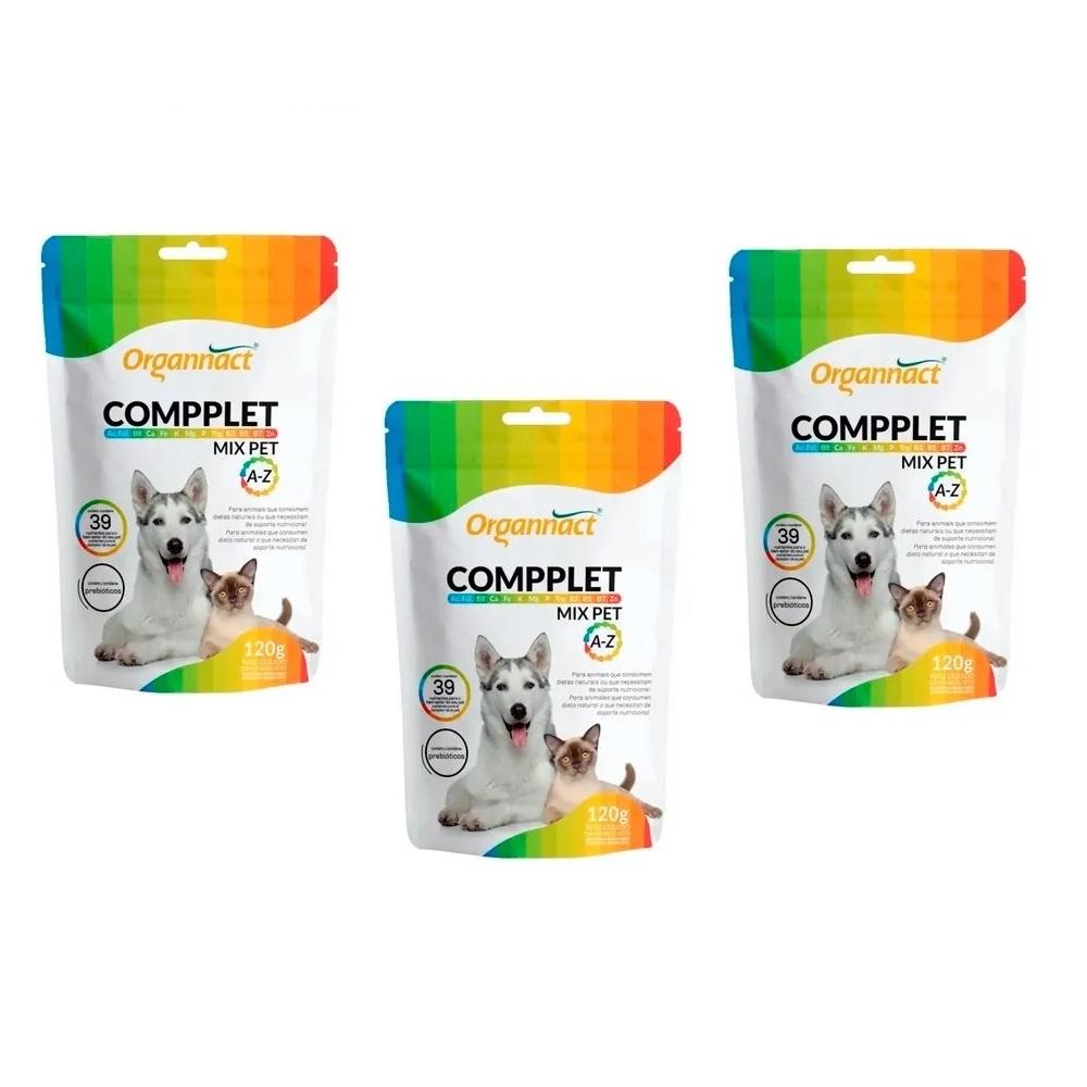 Kit 3 Unidades Suplemento Vitamínico para Cães e Gatos Compplet Mix Pet A-Z 120g - Organnact