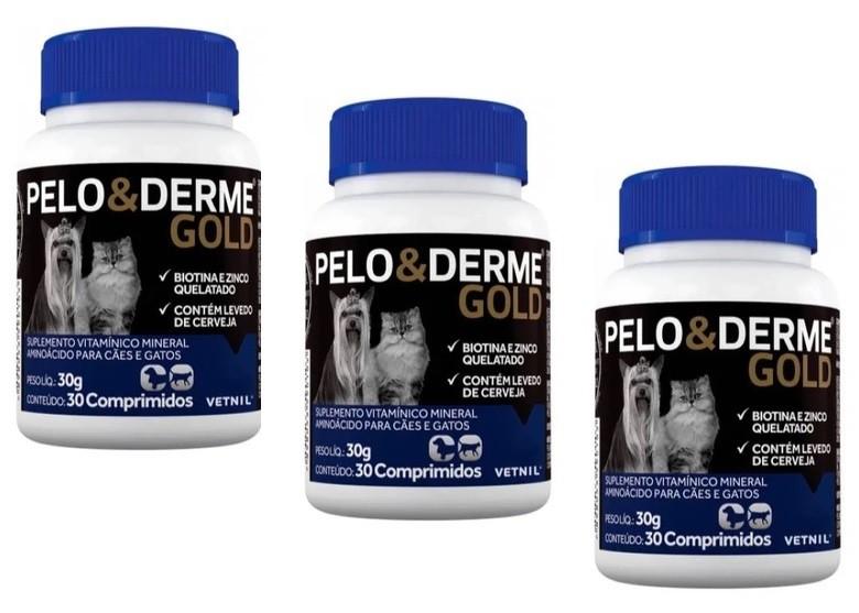 Kit 3 Unidades Suplemento Vitaminico Pelo & Derme Gold (30g/30 comprimidos) - Vetnil