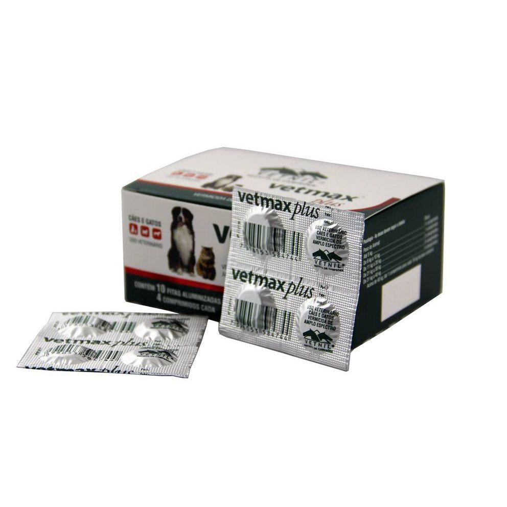 Kit 4 Blisters Vermifugo para Cães e Gatos Vetmax Plus 700mg (4 comprimidos) - Vetnil