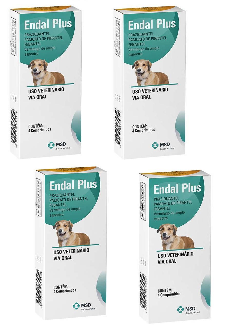 Kit 4 Unidades Vermifugo para Cães Endal Plus (4 comprimidos) - MSD Saúde Animal (Validade 10/2020)