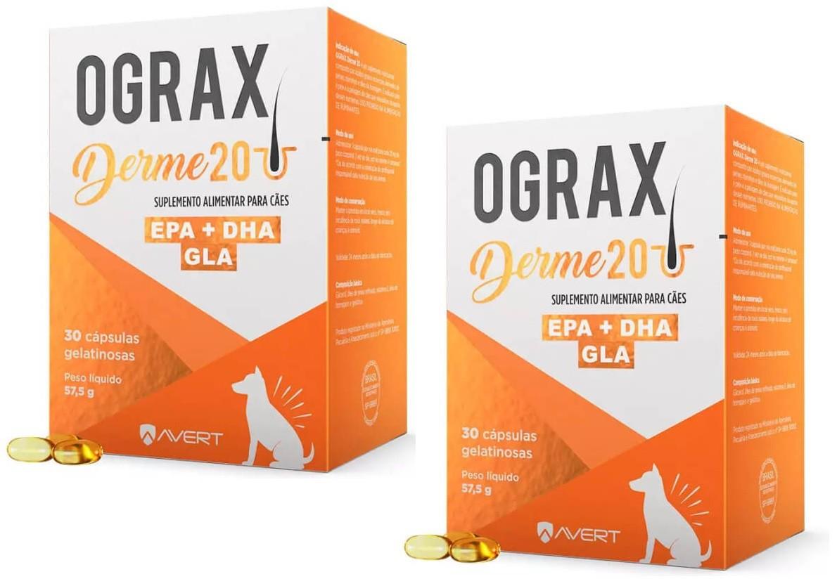 Kit 2 Suplemento Alimentar para Câes Ograx Derme 20 (30 cápsulas) - Avert