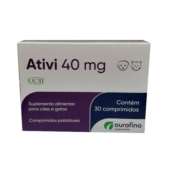Suplemento Alimentar para Cães e Gatos Ativi 40mg 30 Comprimidos - Ourofino