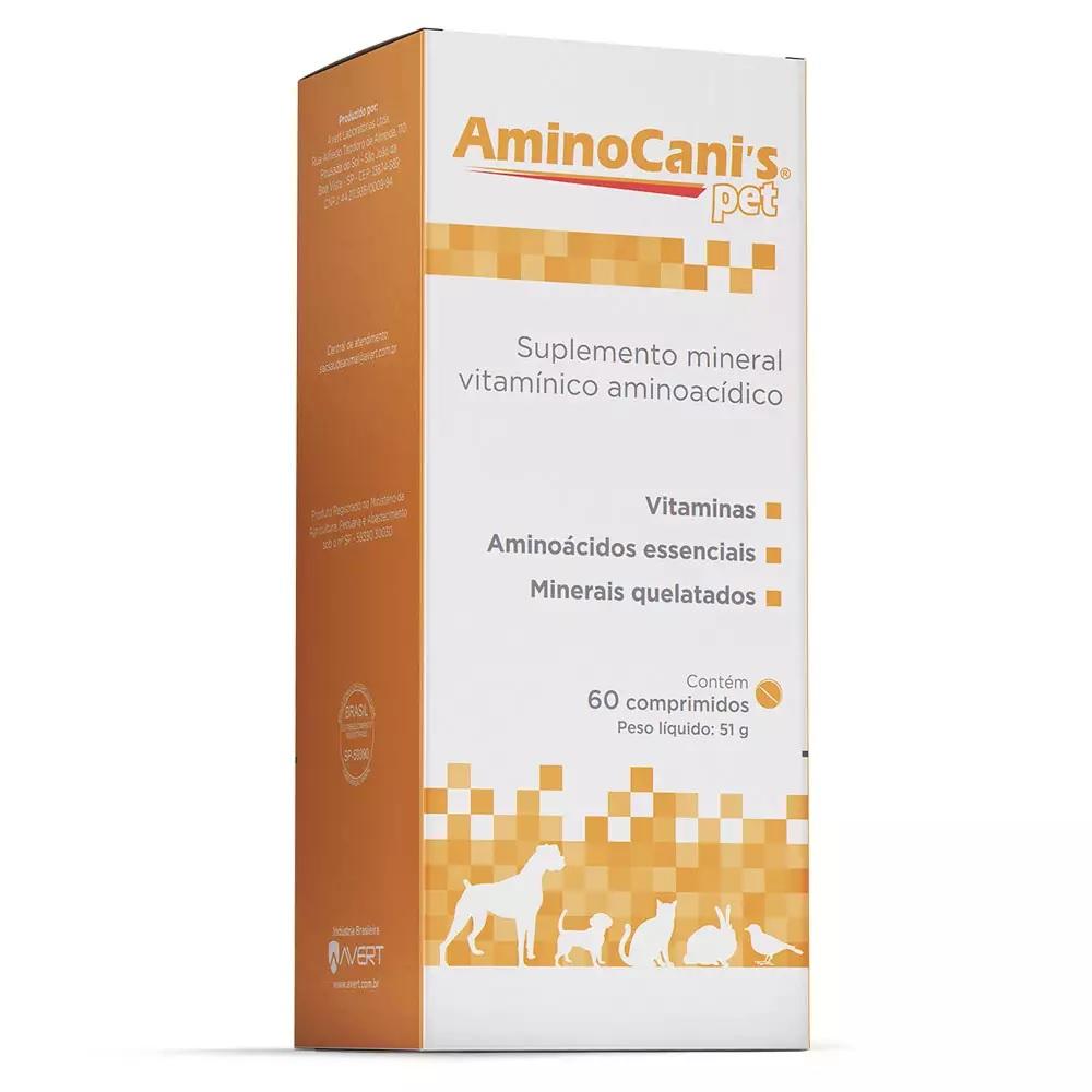 Suplemento Mineral Vitamínico Aminoácido Amino Cani's Pet para Cães 60 Comprimidos - Avert