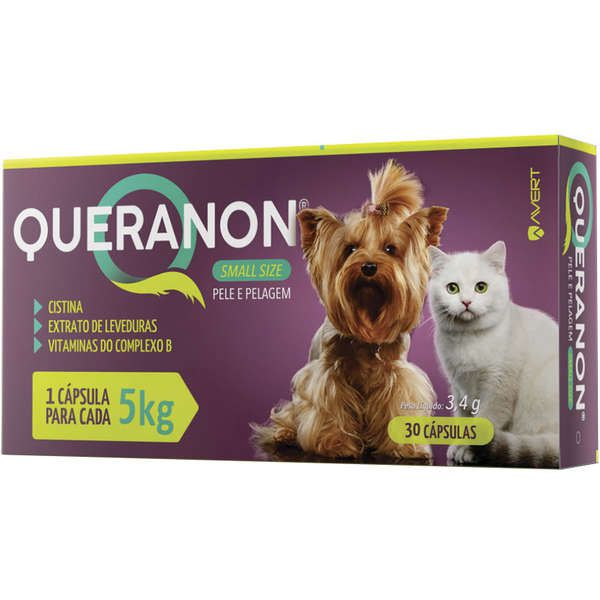 Suplemento para Cães e Gatos Pequenos Queranon 5kg (30 cápsulas) - Avert