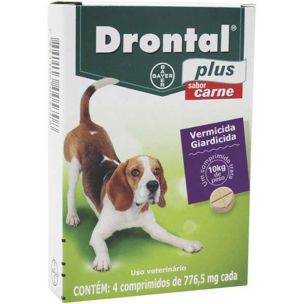 Vermifugo para Cães Drontal Plus Sabor Carne 10kg com 4 comprimidos - Bayer
