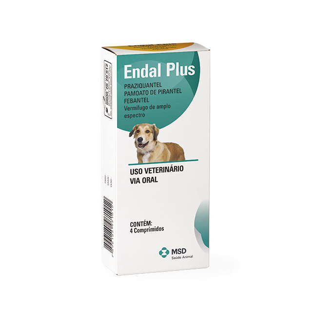 Vermifugo para Cães Endal Plus (4 comprimidos) - MSD Saúde Animal (Validade 10/2020)