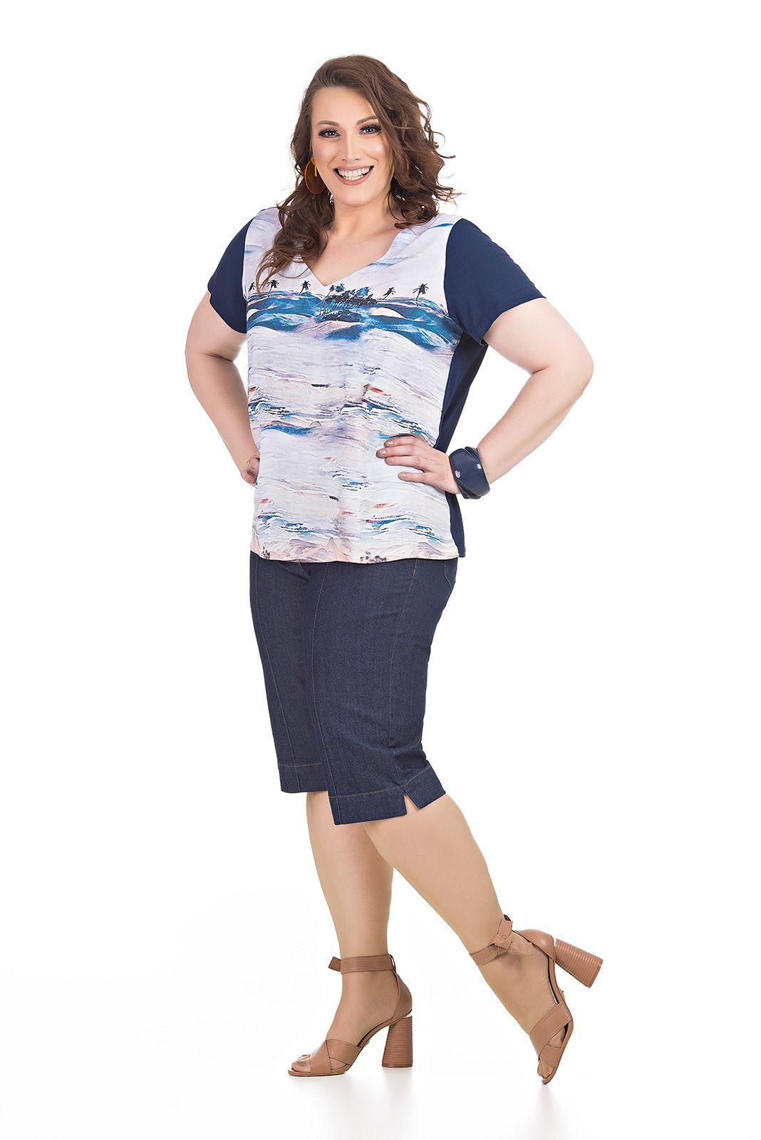 Bermuda em Jeans com Lycra Plus Size